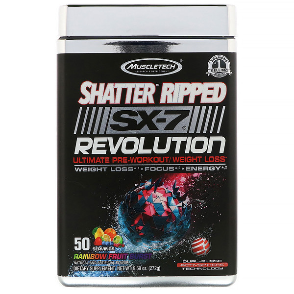 Muscletech, Shatter Ripped SX-7 Revolution Ultimate Pre-Workout/ Weight Loss, Rainbow Fruit Burst, 9.59 oz (272 g) (Discontinued Item)