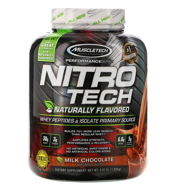 Muscletech, نيترو تيك، ببتايدز مصل اللبن الطبيعي المنكهة والمستخلص من مصدر أساسي، وشوكولاتة الحليب، 4.02 رطل (1.82 كيلو جرام)