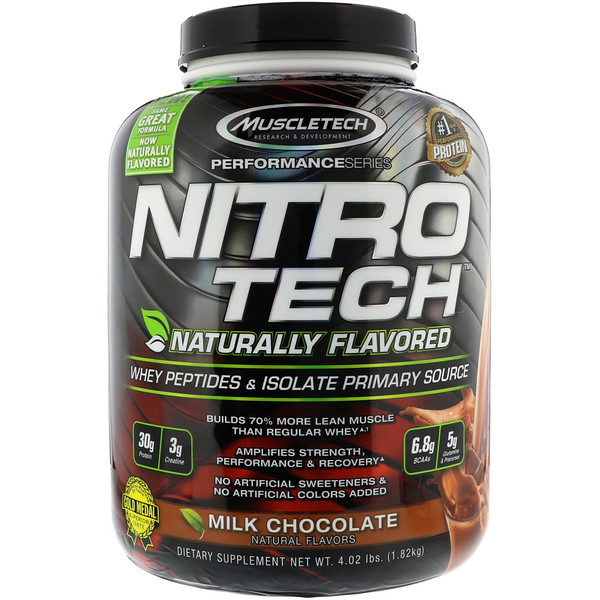Muscletech, Nitro Tech, Naturally Flavored Whey Peptides & Isolate Primary Source, Milk Chocolate, 4、02 lbs (1、82 kg)
