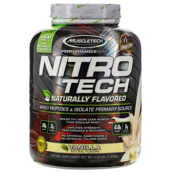 Nitro Tech、天然風味、ホエイペプチド&アイソレートプライマリーソース、バニラ、1.82kg