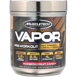 Muscletech, Vapor1, Pre-Workout, Rainbow Fruit Candy, 14.85 oz (421 g)