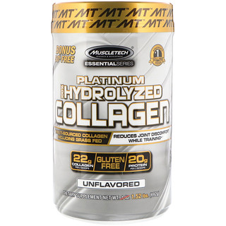 Muscletech, Platinum 100% Hydrolyzed Collagen, Unflavored, 1.52 lbs (692 g)