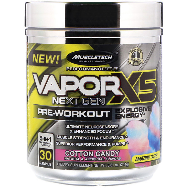 VaporX5 Next Gen Pre-Workout, Cotton Candy, 8.61 oz (244 g)