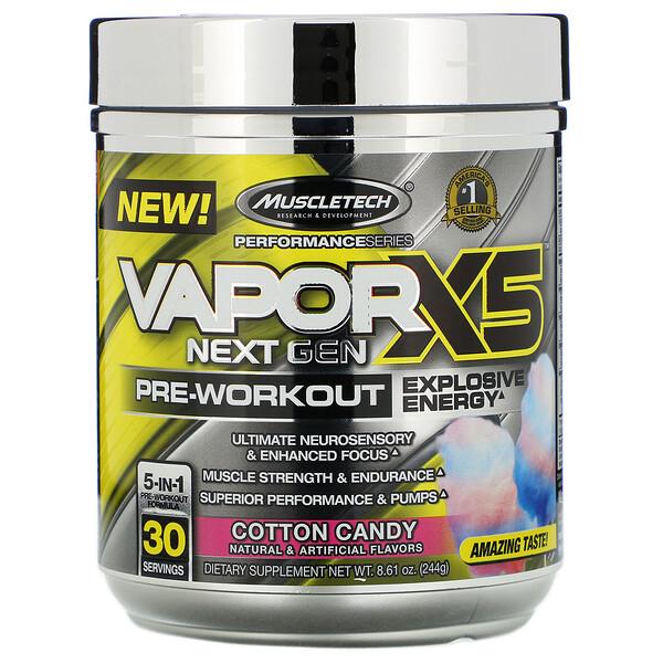 Muscletech, VaporX5 Next Gen Pre-Workout, Cotton Candy, 8.61 oz (244 g) (Discontinued Item)