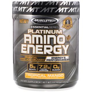Muscletech, Platinum Amino Plus Energy, Tropical Mango, 11.19 oz (317 g)