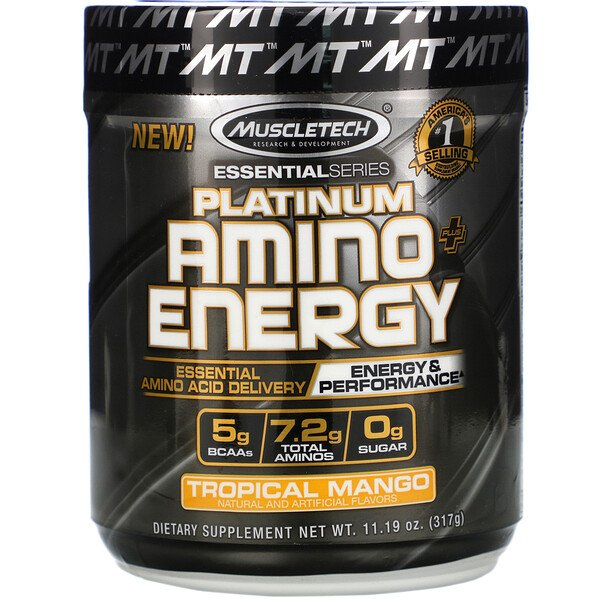 Platinum Amino Plus Energy, Tropical Mango, 11.19 oz (317 g)