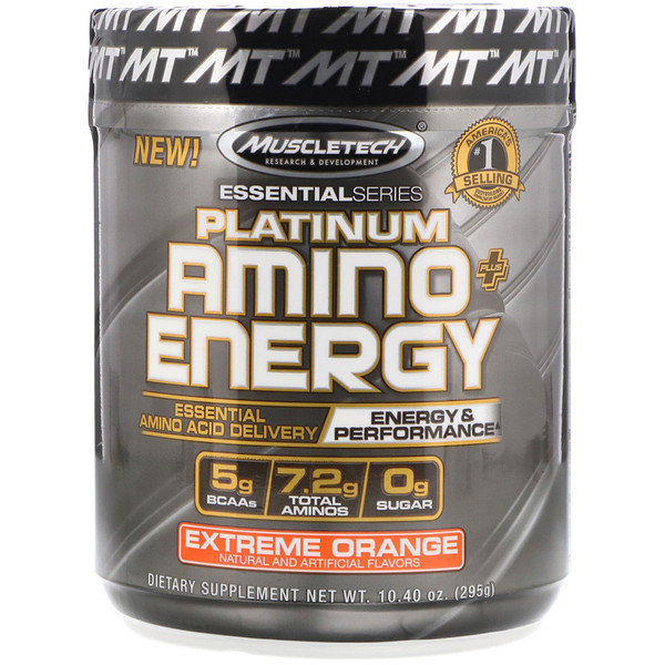Platinum Amino Plus Energy, Extreme Orange, 10.40 اونص (295 جرام)