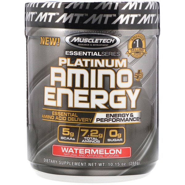 Muscletech, Platinum Amino Plus Energy、ウォーターメロン、10.15 オンス(288 g)