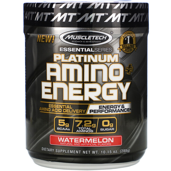 Muscletech, Platinum Amino Plus Energy, Watermelon, 10.15 oz (288 g) (Discontinued Item)