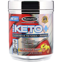 100% Keto Plus, Exogenous Ketones + Aminos, Sour Peach Candy, 12.03 oz  (341 g) - фото