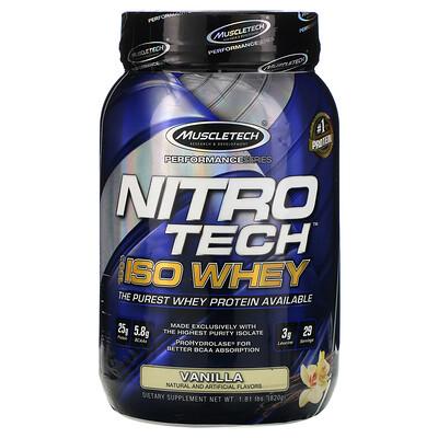 Купить Muscletech NitroTech, 100% ISO Whey, со вкусом ванили, 820г (1, 81фунта)