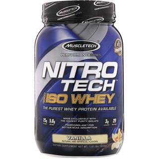 Muscletech, NitroTech、100% ISOホエイ、バニラ、1.81ポンド (820 g)