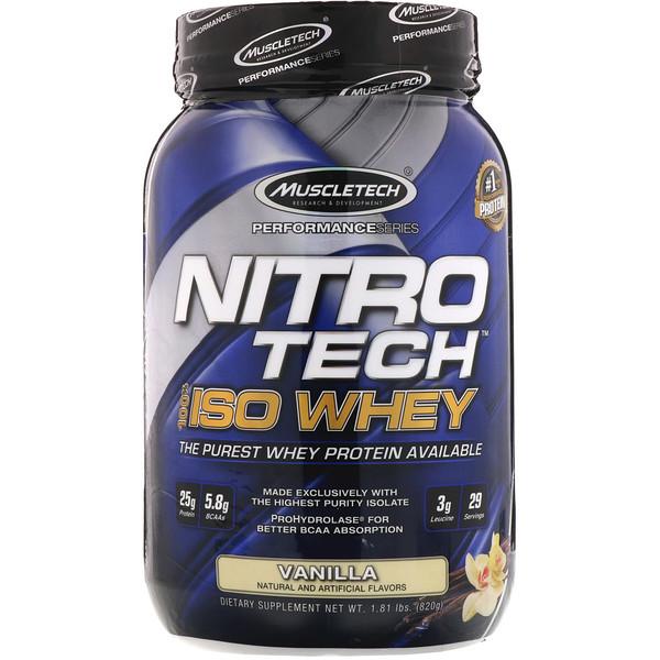 NitroTech, 100% ISO Whey, Vanilla, 1.81 lbs (820 g)