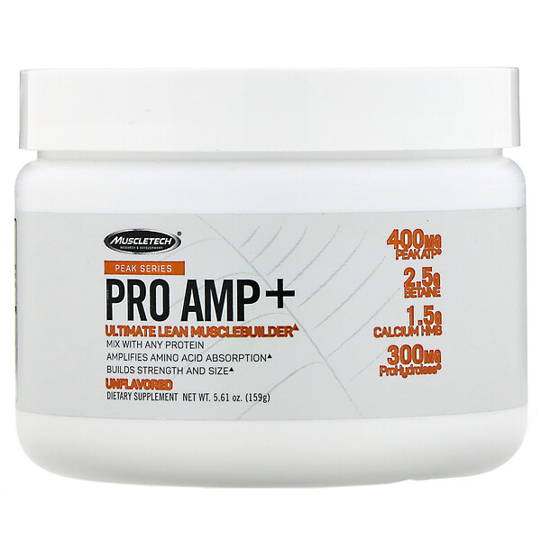 Muscletech, Peak Series, Pro Amp+, Unflavored, 5.61 oz (159 g)