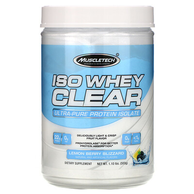 Купить Muscletech ISO Whey Clear, Ultra-Pure Protein Isolate, Lemon Berry Blizzard, 1.10 lbs (503 g)