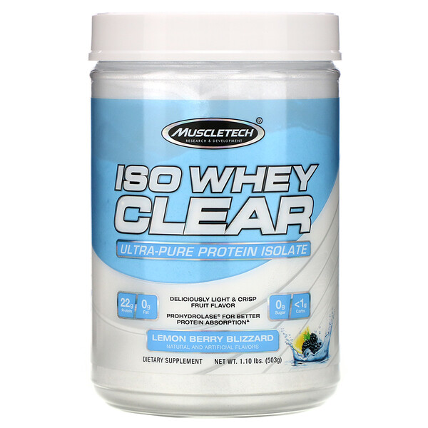 ISO Whey Clear, Ultra-Pure Protein Isolate, Lemon Berry Blizzard, 1.10 lbs (503 g)