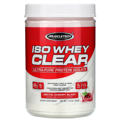 Купить Muscletech ISO Whey Clear, Ultra-Pure Protein Isolate, Arctic Cherry Blast, 1.10 lbs (503 g)