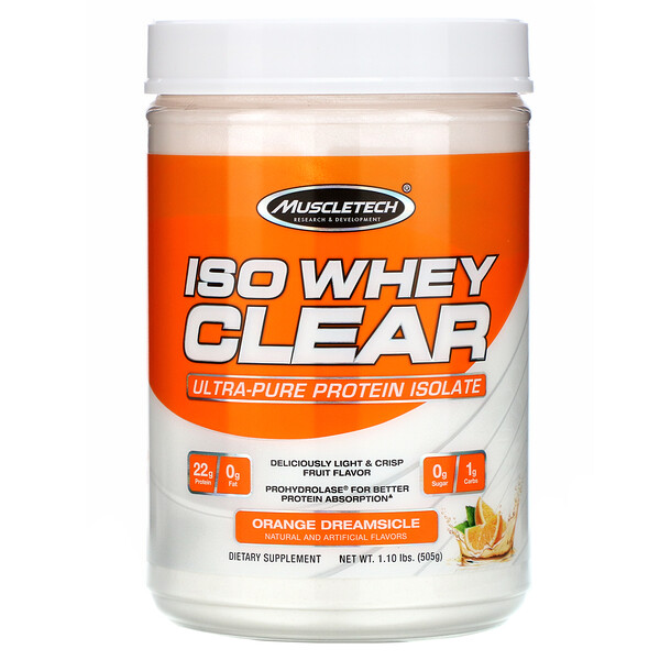ISO Whey Clear, Ultra-Pure Protein Isolate, Orange Dreamsicle, 1.10 lbs (505 g)