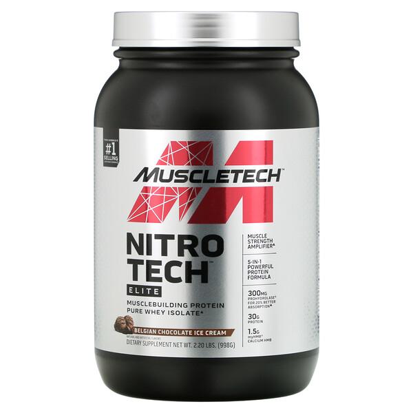 Nitro Tech Elite, Belgian Chocolate Ice Cream, 2.2 lbs (998 g)