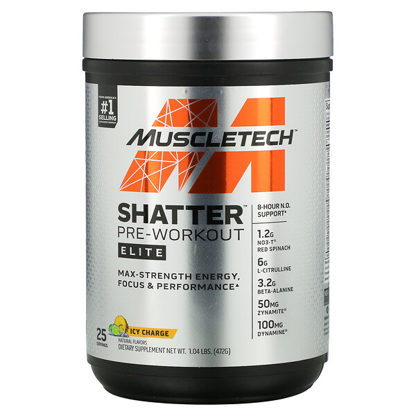 Shatter Pre-Workout, Elite, Icy Charge, 1.04 lbs (472 g)