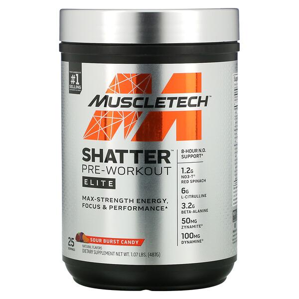 Shatter Pre-Workout Elite, Sour Burst Candy, 1.07 lbs (487 g)