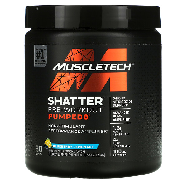 Shatter Pre-Workout Pumped8, Blueberry Lemonade, 8.94 oz (254 g)