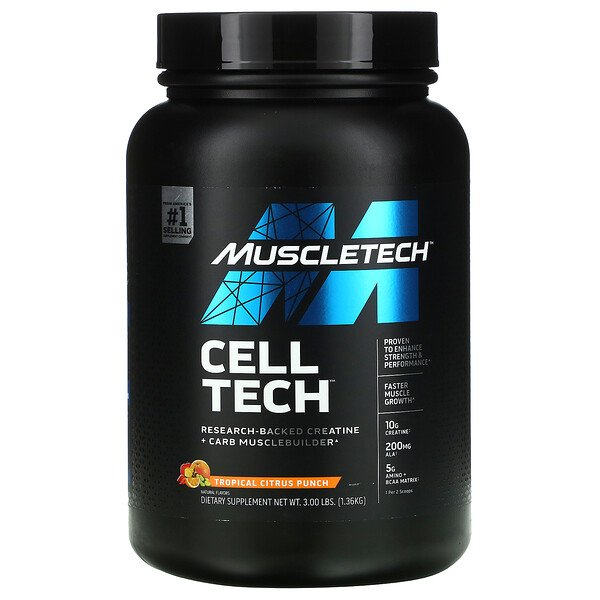 Muscletech, Cell Tech, Research-Backed Creatine + Carb Musclebuilder, Tropical Citrus Punch, 3 lbs (1.36 kg)