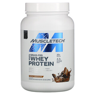 Muscletech, 100% Grass-Fed Whey Protein, Triple Chocolate, 1.8 lbs (816 g)