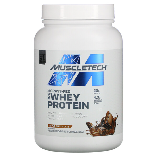 100% Grass-Fed Whey Protein, Triple Chocolate, 1.80 lbs (816 g)