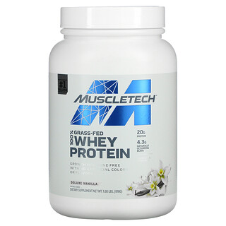 Muscletech, 100% Grass-Fed Whey Protein, Deluxe Vanilla, 1.8 lbs (816 g)