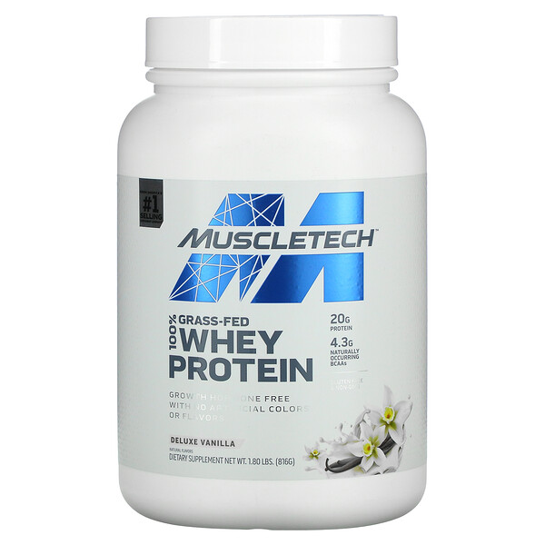 100% Grass-Fed Whey Protein, Deluxe Vanilla, 1.8 lbs (816 g)