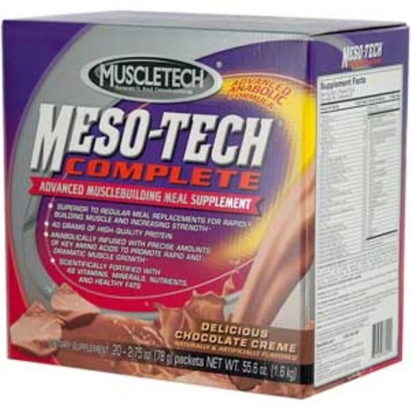 Muscletech, Meso-Tech Complete, Delicious Chocolate Creme, 20 Packets, 2.75 oz (78 g) Each (Discontinued Item)