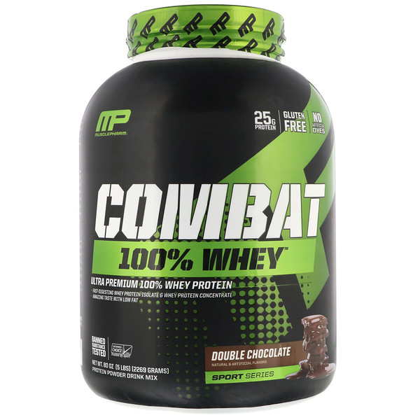 Combat 100% Whey Protein, Double Chocolate, 5 lbs (2269 g)