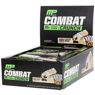 MusclePharm, コンバットクランチ、ダブルスタッフドクッキードゥ、12本、各2.22オンス (63 g)