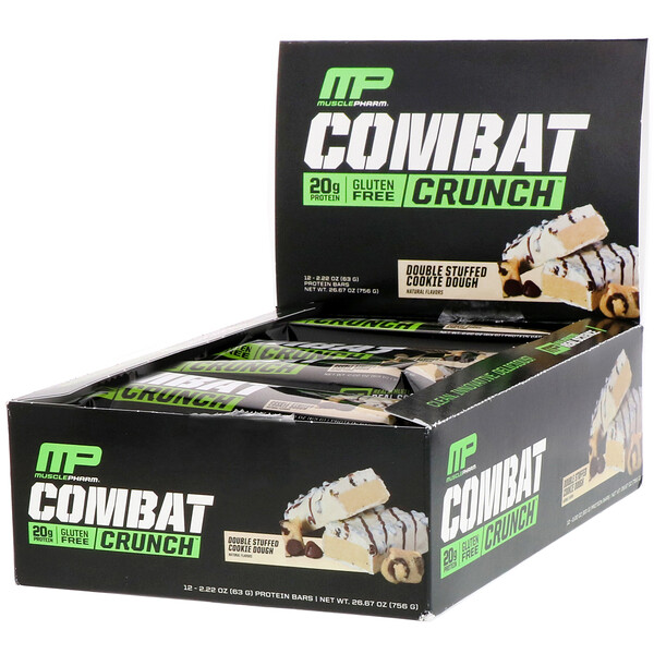 MusclePharm, Combat Crunch, Pâte à cookies doublement fourrée, 12 barres, 63 g (2,22 oz) chacune