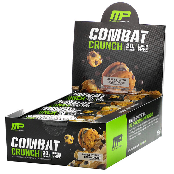 Combat Crunch, Double Stuffed Cookie Dough, 12 Bars, 2.22 oz (63 g) Each