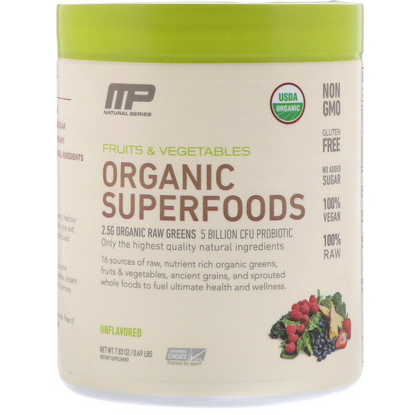 MusclePharm, Superalimentos Orgânicos, Sem Sabor, 230 ml (7,83 oz)
