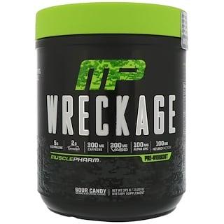 MusclePharm, Предтренировочный комплекс Wreckage, кислые конфеты, 375 г (13,23 унций)
