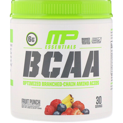 MusclePharm Серия Essentials, аминокислоты с разветвленной цепью (BCAA), фруктовый пунш, 258 г (0,57 фунта)