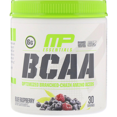 Купить MusclePharm Essentials, BCAA, Blue Raspberry, 0.50 lbs (225 g)