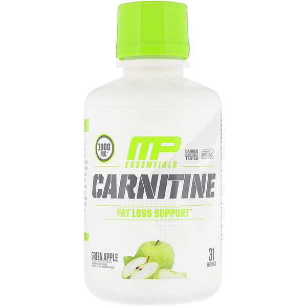 MusclePharm, Carnitine, Fat Loss Support, Green Apple, 1,000 mg, 15.5 fl oz (458.8 ml) (Discontinued Item)