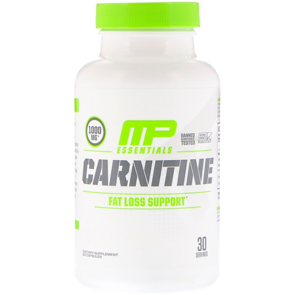 MusclePharm, Essentials, Carnitin, 1000 mg, 60 Kapseln