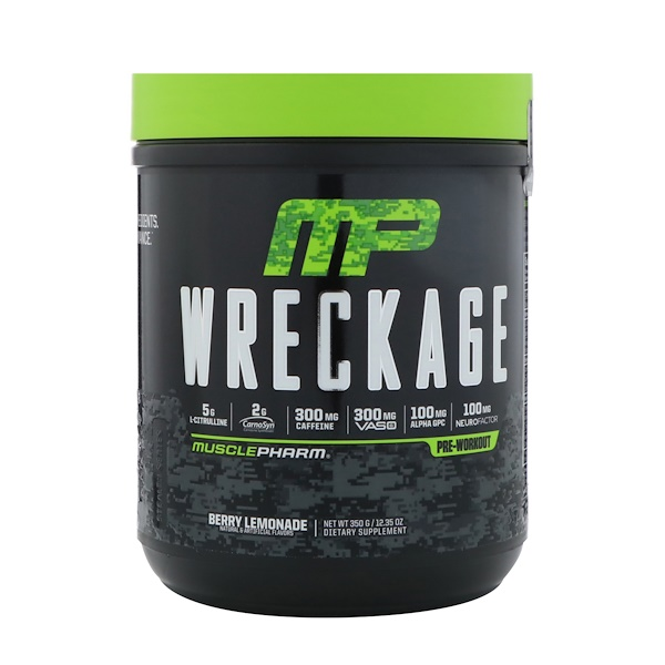 MusclePharm, Wreckage, Pre-Workout, Berry Lemonade, 12.35 oz (350 g)