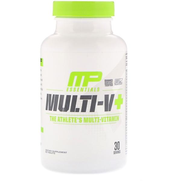 MusclePharm, Essentials,Multi-V+,運動員的多種維生素,60片