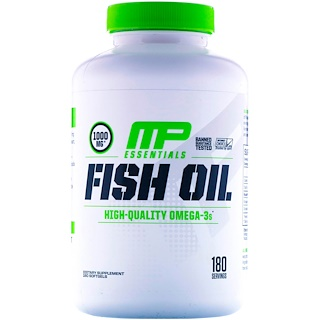 MusclePharm, Essentials, Fish Oil, 180 Softgels