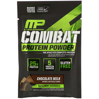 MusclePharm, Combat Protein Powder, Chocolate Milk, 1.23 oz (34.9 g) Trial Size