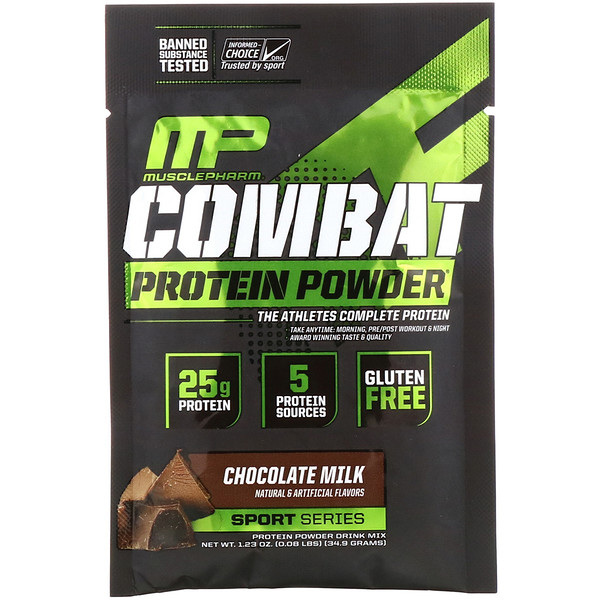 MusclePharm, Combat Protein Powder, Chocolate Milk, 1.23 oz (34.9 g) Trial Size (Discontinued Item)