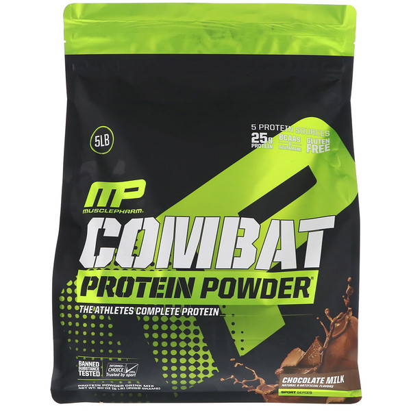 MusclePharm, Combat Protein Powder(コンバットプロテインパウダー)、チョコレートミルク、2268 g(5ポンド) (Discontinued Item)