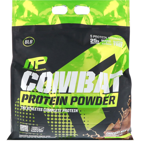 MusclePharm, Combat Protein Powder, Chocolate Milk, 8 lbs (3629 g) (Discontinued Item)