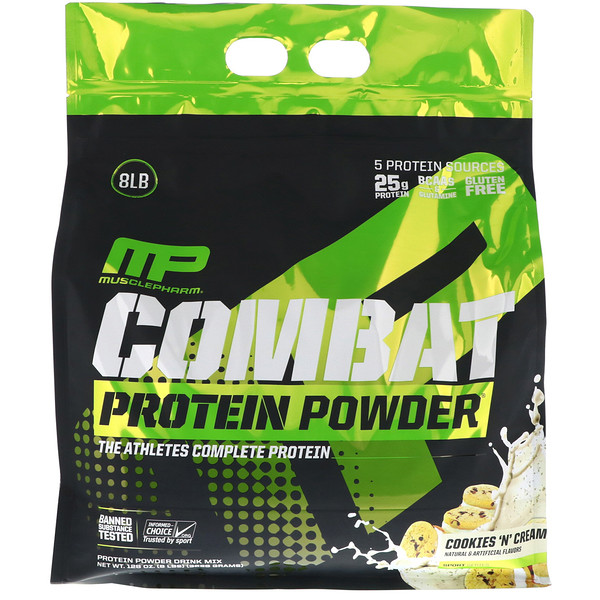 MusclePharm, Combat Protein Powder, Cookies 'N' Cream, 8 lbs (3629 g) (Discontinued Item)
